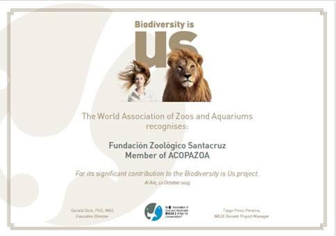 """La Fundación Zoológico Santacruz ha sido galardonada con el Premio """"Biodiversity Awards 2015"""""""
