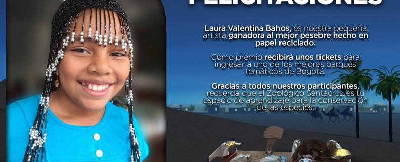 Laura Valentina Bahos, es nuestra pequeña artista ganadora al mejor pesebre hecho en papel reciclado